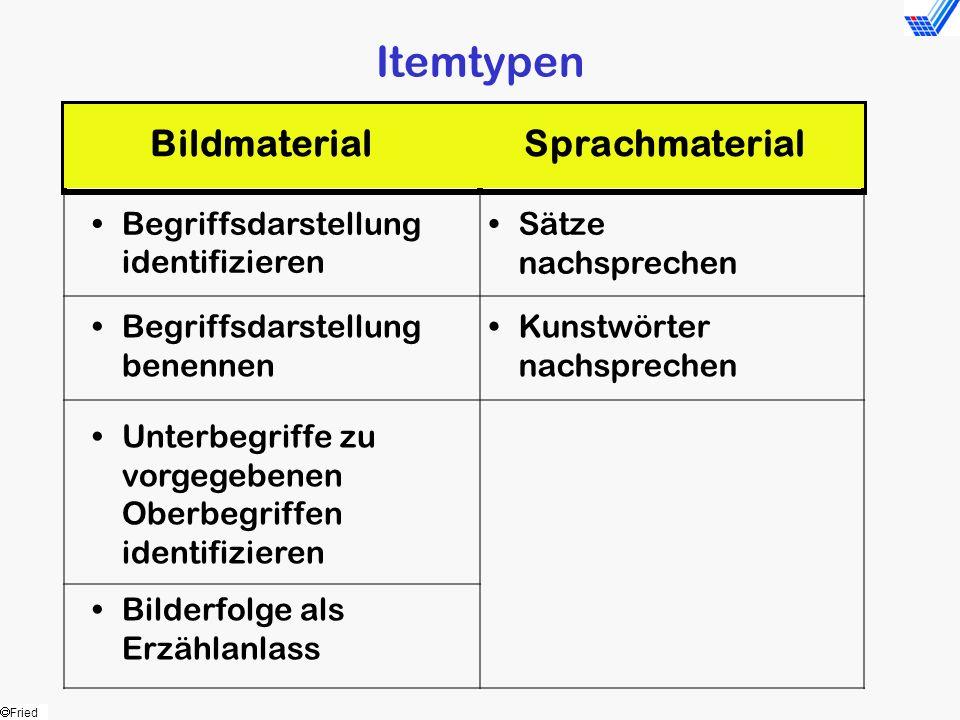 Fried Itemtypen Begriffsdarstellung identifizieren Sätze nachsprechen Begriffsdarstellung benennen Kunstwörter nachsprechen Unterbegriffe zu vorgegebe
