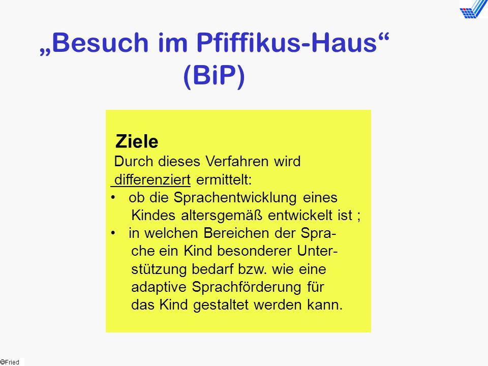 Fried Besuch im Pfiffikus-Haus (BiP) Ziele Durch dieses Verfahren wird differenziert ermittelt: ob die Sprachentwicklung eines Kindes altersgemäß entw