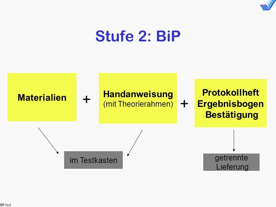 Fried Stufe 2: BiP Materialien Handanweisung (mit Theorierahmen) Protokollheft Ergebnisbogen Bestätigung + + im Testkasten getrennte Lieferung