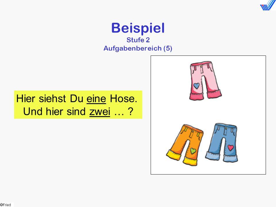 Fried Beispiel Stufe 2 Aufgabenbereich (5) Hier siehst Du eine Hose. Und hier sind zwei … ?