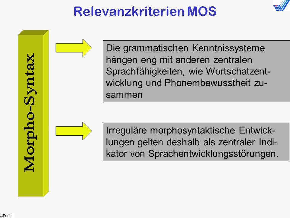 Fried Relevanzkriterien MOS Die grammatischen Kenntnissysteme hängen eng mit anderen zentralen Sprachfähigkeiten, wie Wortschatzent- wicklung und Phon