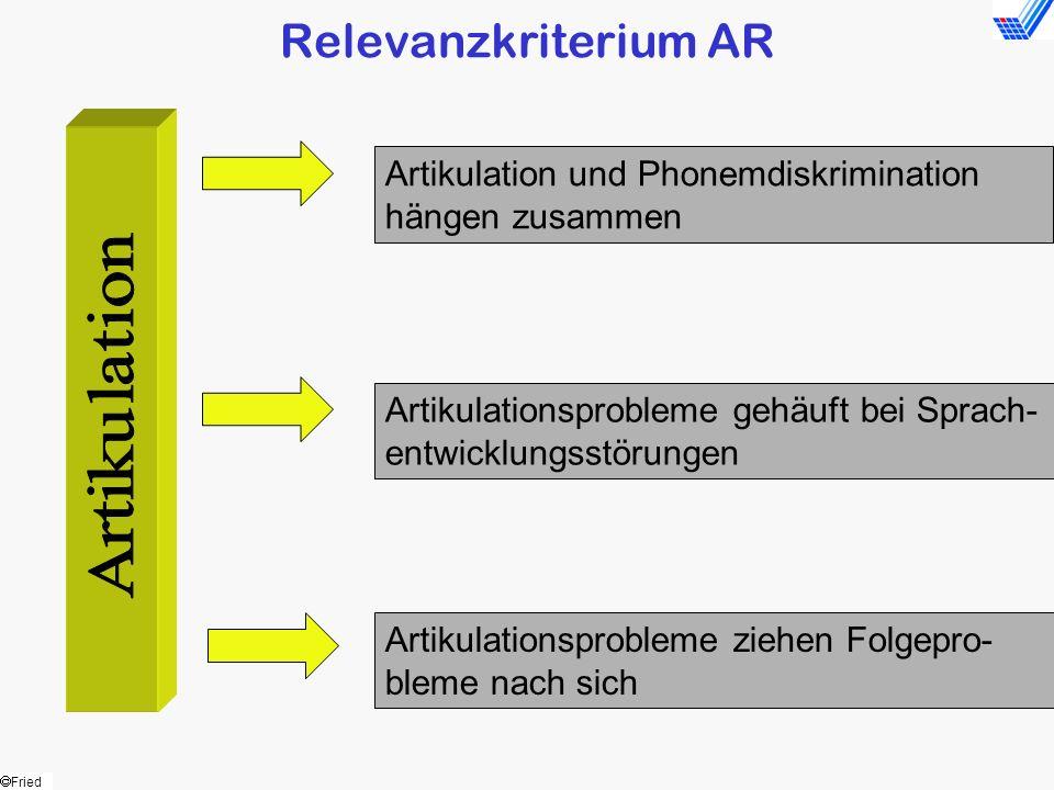 Fried Relevanzkriterium AR Artikulation und Phonemdiskrimination hängen zusammen Artikulationsprobleme gehäuft bei Sprach- entwicklungsstörungen Artik