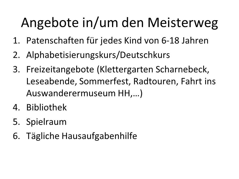Angebote in/um den Meisterweg 1.Patenschaften für jedes Kind von 6-18 Jahren 2.Alphabetisierungskurs/Deutschkurs 3.Freizeitangebote (Klettergarten Sch