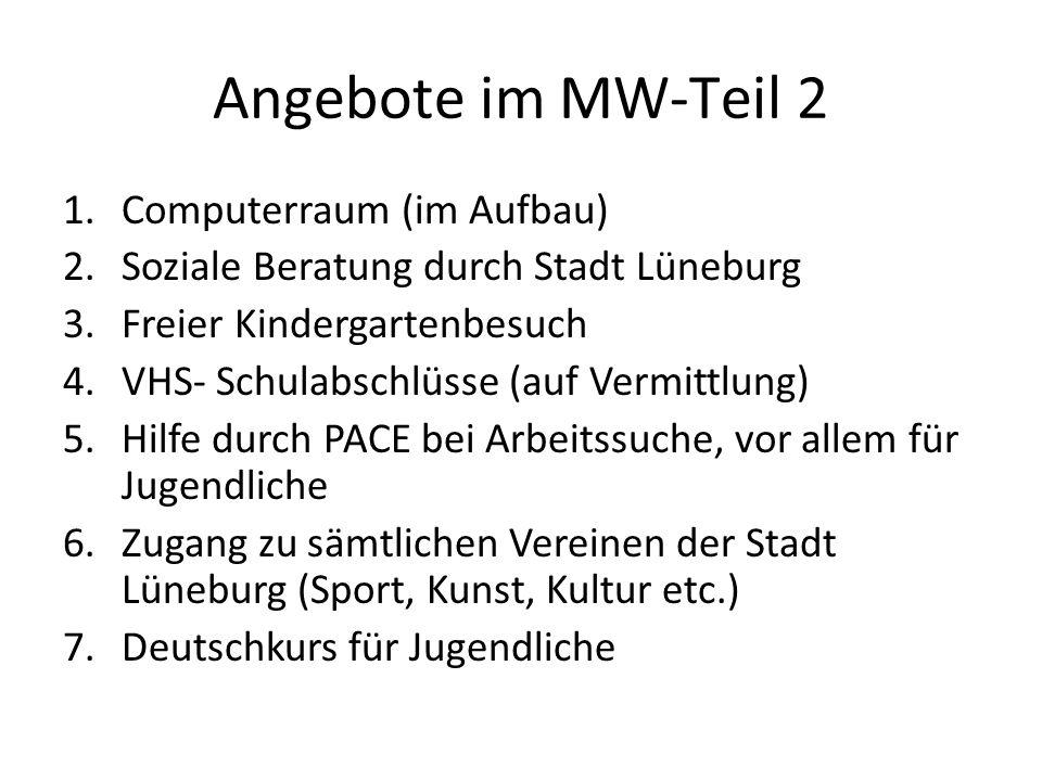 Angebote im MW-Teil 2 1.Computerraum (im Aufbau) 2.Soziale Beratung durch Stadt Lüneburg 3.Freier Kindergartenbesuch 4.VHS- Schulabschlüsse (auf Vermi