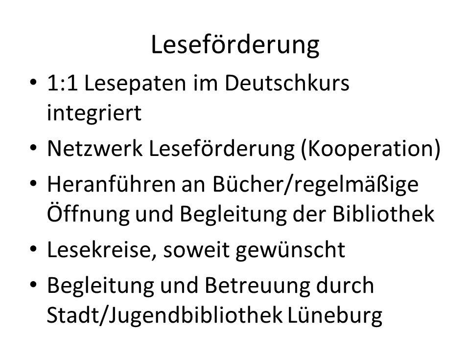 1:1 Lesepaten im Deutschkurs integriert Netzwerk Leseförderung (Kooperation) Heranführen an Bücher/regelmäßige Öffnung und Begleitung der Bibliothek L