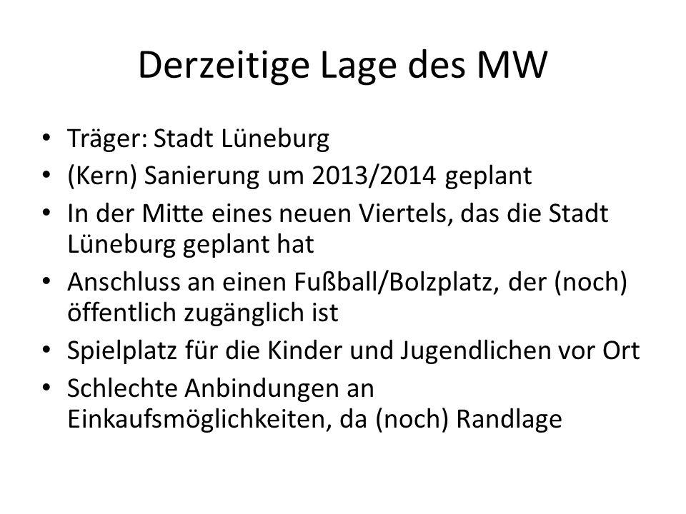 Derzeitige Lage des MW Träger: Stadt Lüneburg (Kern) Sanierung um 2013/2014 geplant In der Mitte eines neuen Viertels, das die Stadt Lüneburg geplant
