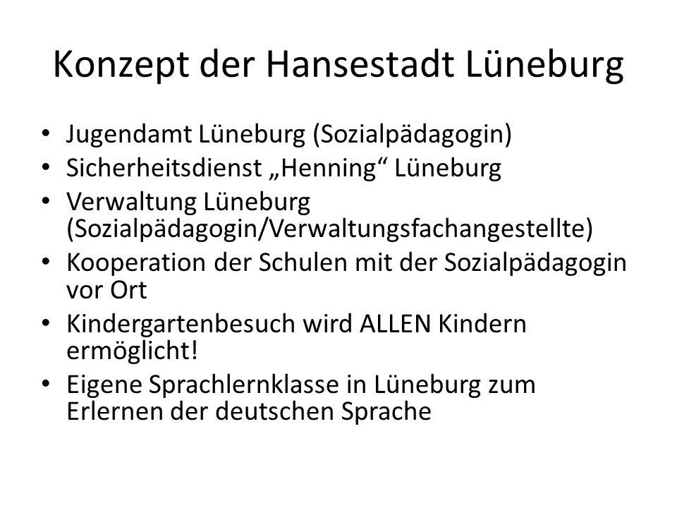 Konzept der Hansestadt Lüneburg Jugendamt Lüneburg (Sozialpädagogin) Sicherheitsdienst Henning Lüneburg Verwaltung Lüneburg (Sozialpädagogin/Verwaltun