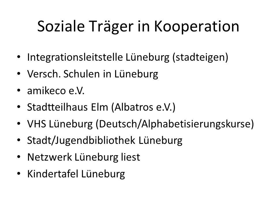 Soziale Träger in Kooperation Integrationsleitstelle Lüneburg (stadteigen) Versch. Schulen in Lüneburg amikeco e.V. Stadtteilhaus Elm (Albatros e.V.)