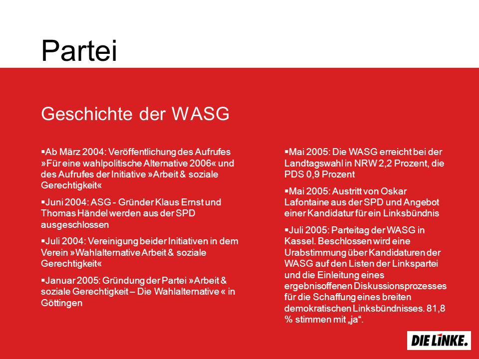 Partei Geschichte der WASG Ab März 2004: Veröffentlichung des Aufrufes »Für eine wahlpolitische Alternative 2006« und des Aufrufes der Initiative »Arb