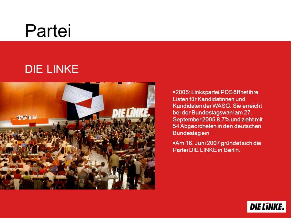 Partei DIE LINKE 2005: Linkspartei.PDS öffnet ihre Listen für Kandidatinnen und Kandidaten der WASG. Sie erreicht bei der Bundestagswahl am 27. Septem
