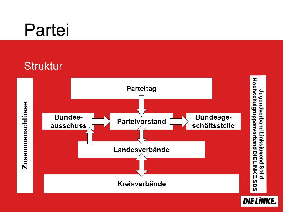 Partei Struktur Landesverbände Parteivorstand Bundes- ausschuss Bundesge- schäftsstelle Parteitag Kreisverbände Zusammenschlüsse Jugendverband Linksju
