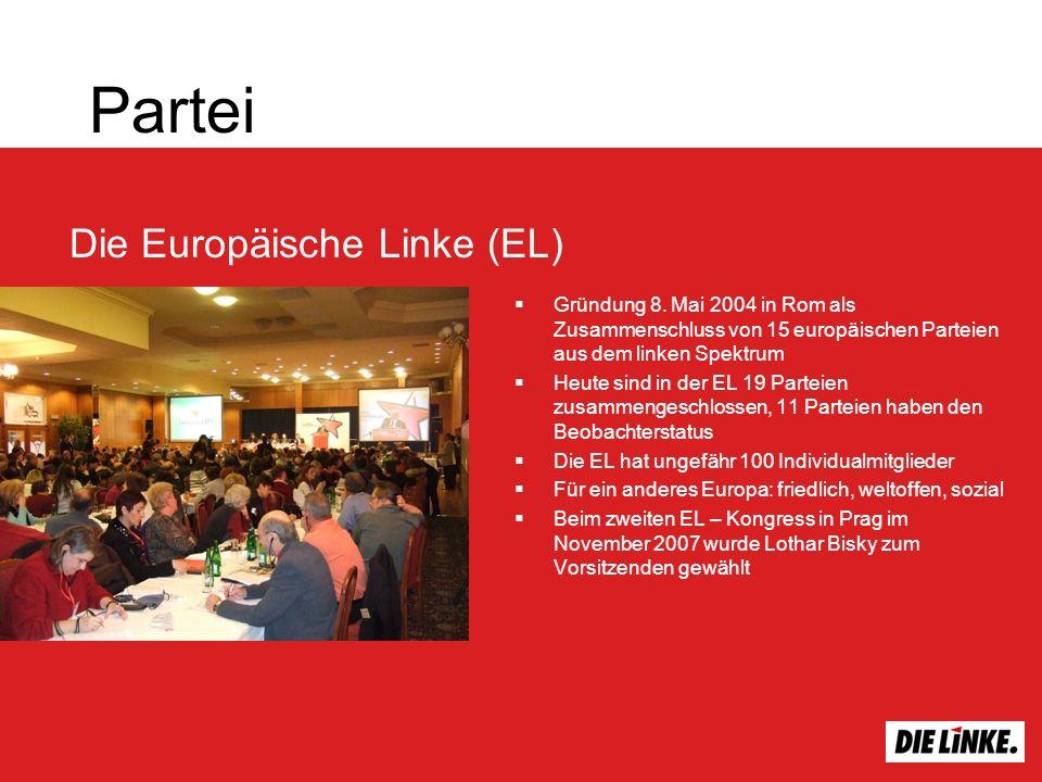 Partei Gründung 8. Mai 2004 in Rom als Zusammenschluss von 15 europäischen Parteien aus dem linken Spektrum Heute sind in der EL 19 Parteien zusammeng