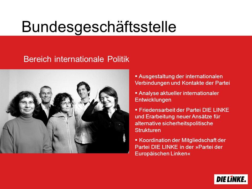 Bundesgeschäftsstelle Bereich internationale Politik Ausgestaltung der internationalen Verbindungen und Kontakte der Partei Analyse aktueller internat