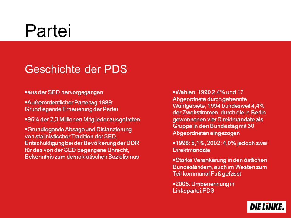 Partei Geschichte der PDS aus der SED hervorgegangen Außerordentlicher Parteitag 1989: Grundlegende Erneuerung der Partei 95% der 2,3 Millionen Mitglieder ausgetreten Grundlegende Absage und Distanzierung von stalinistischer Tradition der SED, Entschuldigung bei der Bevölkerung der DDR für das von der SED begangene Unrecht, Bekenntnis zum demokratischen Sozialismus Wahlen: 1990 2,4% und 17 Abgeordnete durch getrennte Wahlgebiete; 1994 bundesweit 4,4% der Zweitstimmen, durch die in Berlin gewonnenen vier Direktmandate als Gruppe in den Bundestag mit 30 Abgeordneten eingezogen 1998: 5,1%, 2002: 4,0% jedoch zwei Direktmandate Starke Verankerung in den östlichen Bundesländern, auch im Westen zum Teil kommunal Fuß gefasst 2005: Umbenennung in Linkspartei.PDS