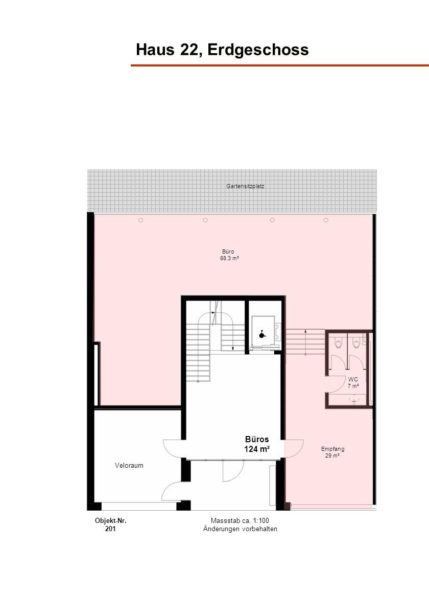 Haus 22, Erdgeschoss Gartensitzplatz WC 7 m² Empfang 29 m² Büro 88.3 m² Büros 124 m² Veloraum Massstab ca. 1:100 Änderungen vorbehalten Objekt-Nr. 201