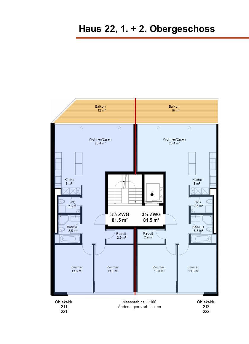 Haus 22, 1. + 2. Obergeschoss Wohnen/Essen 23.4 m² Küche 8 m² Bad/DU 5.5 m² Balkon 15 m² Zimmer 13.6 m² Balkon 12 m² 3½ ZWG 81.5 m² Küche 8 m² Bad/DU
