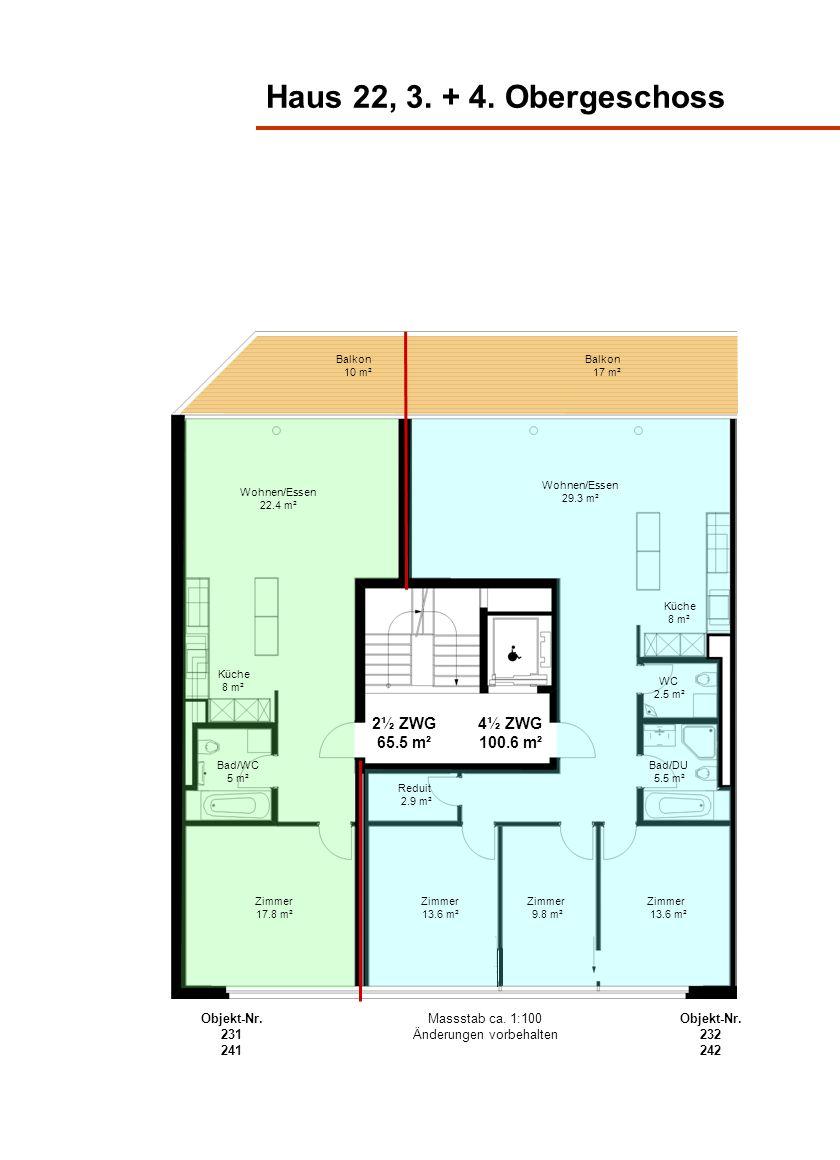 Haus 22, 3. + 4. Obergeschoss Wohnen/Essen 22.4 m² Küche 8 m² Bad/WC 5 m² Zimmer 17.8 m² 2½ ZWG 65.5 m² 4½ ZWG 100.6 m² Küche 8 m² Bad/DU 5.5 m² WC 2.
