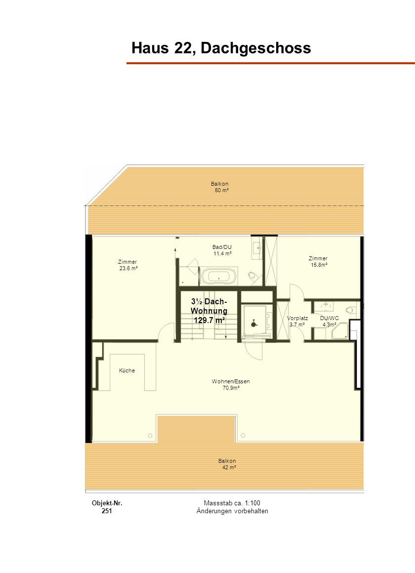 Haus 22, Dachgeschoss Balkon 50 m² Balkon 42 m² Wohnen/Essen 70.9m² Bad/DU 11.4 m² Zimmer 23.6 m² Zimmer 15.8m² Vorplatz 3.7 m² Küche DU/WC 4.3m² 3½ D