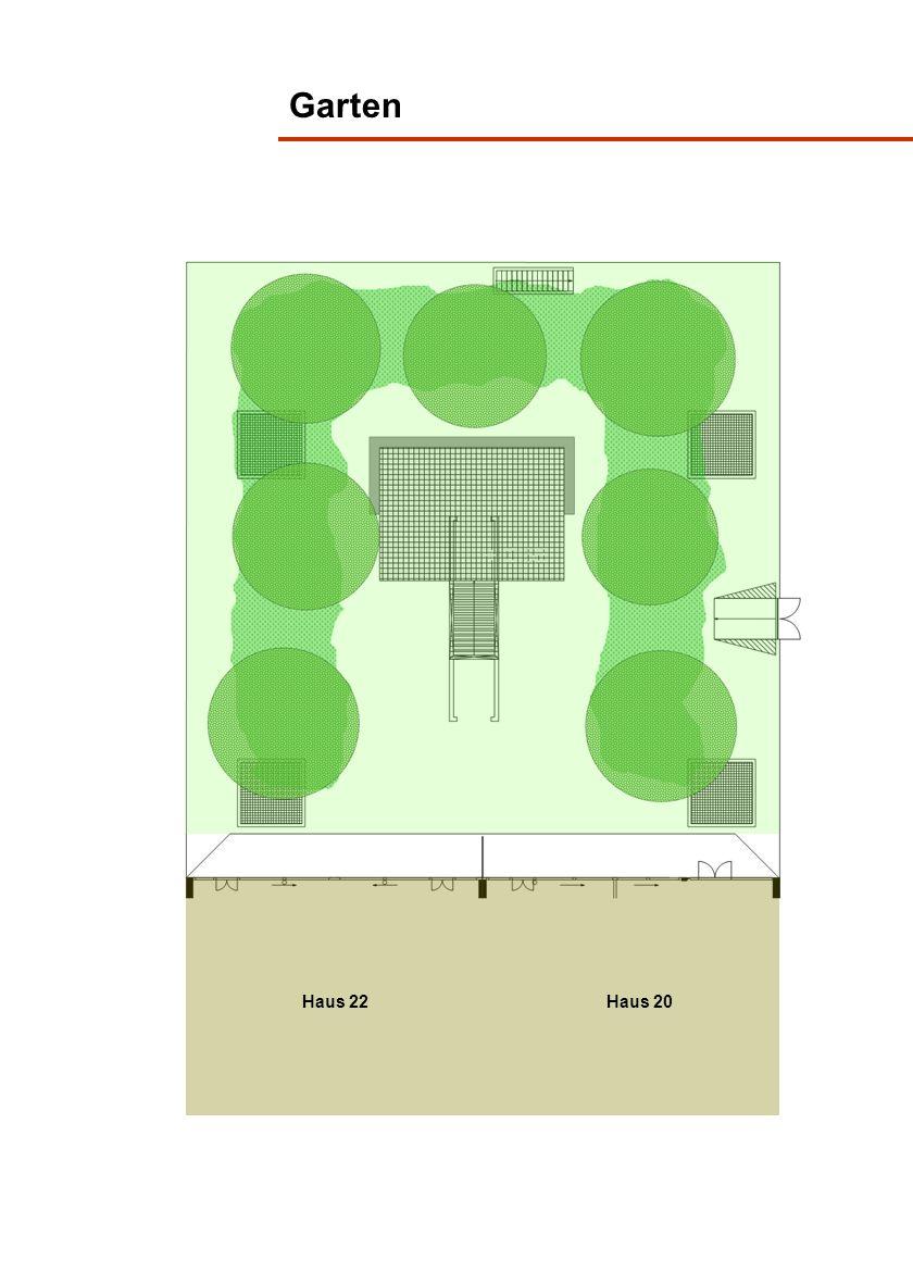 Haus 20, Erdgeschoss Gartensitzplatz 2 ZWG 58.5 m² Bad/WC 4.1 m² Zimmer 12.4 m² Reduit 4.7 m² Wohnen/Essen 25.6 m² Massstab ca.