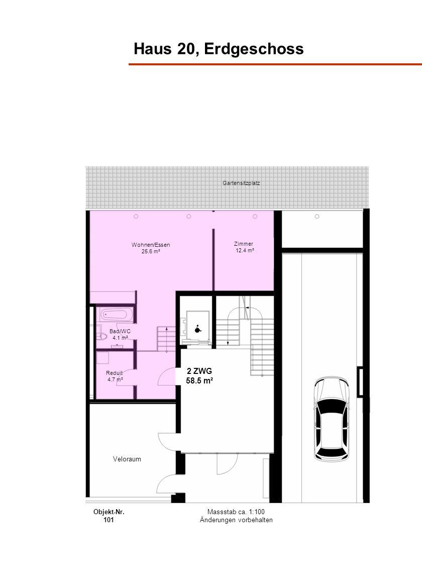 Haus 20, Erdgeschoss Gartensitzplatz 2 ZWG 58.5 m² Bad/WC 4.1 m² Zimmer 12.4 m² Reduit 4.7 m² Wohnen/Essen 25.6 m² Massstab ca. 1:100 Änderungen vorbe
