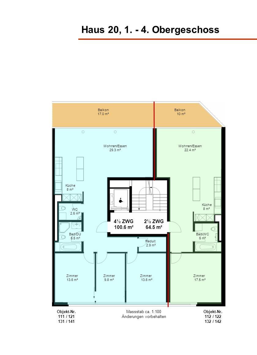 Haus 20, 1. - 4. Obergeschoss Wohnen/Essen 29.3 m² Küche 8 m² Bad/DU 5.5 m² Zimmer 13.6 m² 4½ ZWG 100.6 m² 2½ ZWG 64.5 m² Küche 8 m² Bad/WC 5 m² WC 2.