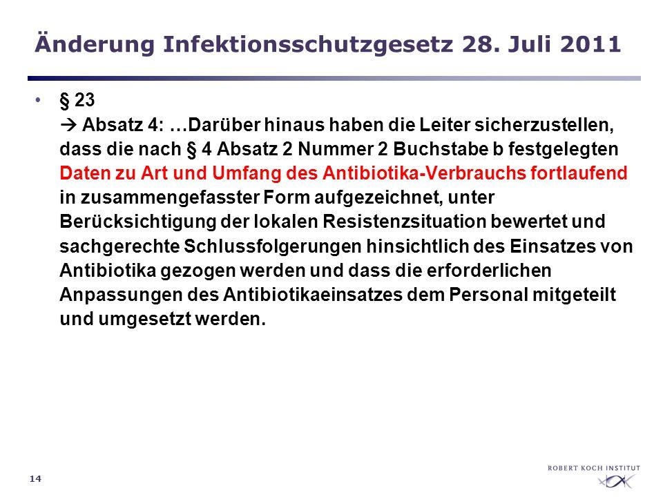14 Änderung Infektionsschutzgesetz 28. Juli 2011 § 23 Absatz 4: …Darüber hinaus haben die Leiter sicherzustellen, dass die nach § 4 Absatz 2 Nummer 2