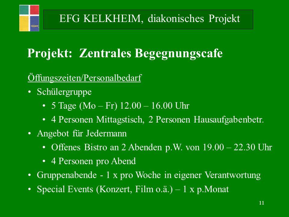 11 EFG KELKHEIM, diakonisches Projekt Öffungszeiten/Personalbedarf Schülergruppe 5 Tage (Mo – Fr) 12.00 – 16.00 Uhr 4 Personen Mittagstisch, 2 Personen Hausaufgabenbetr.