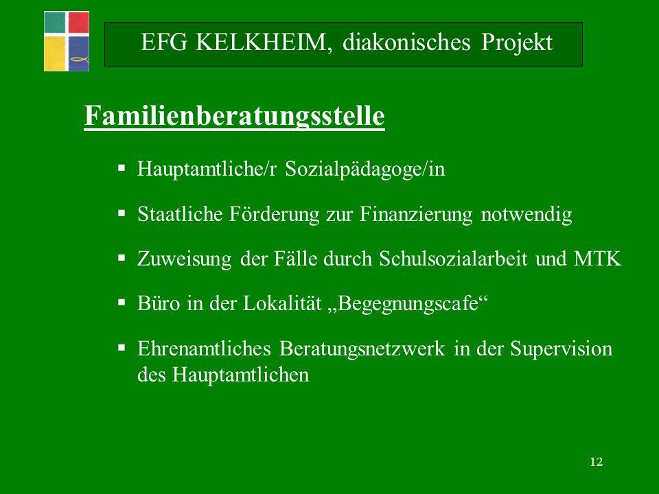 12 Familienberatungsstelle Hauptamtliche/r Sozialpädagoge/in Staatliche Förderung zur Finanzierung notwendig Zuweisung der Fälle durch Schulsozialarbe