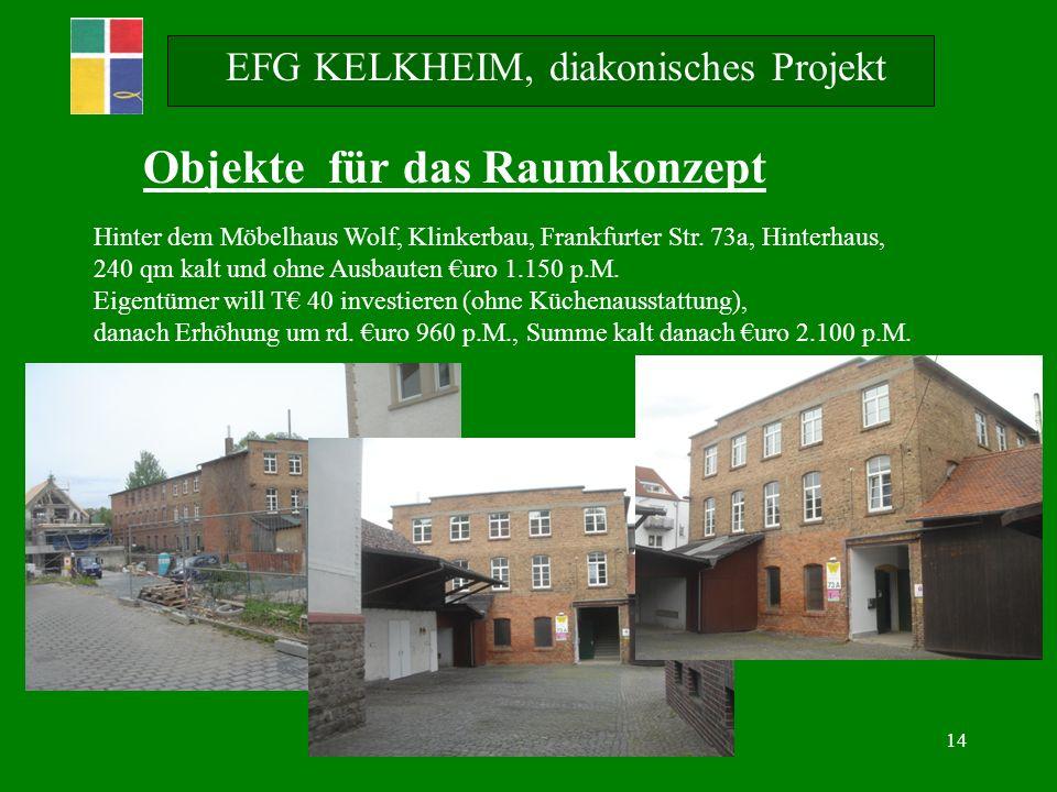 14 EFG KELKHEIM, diakonisches Projekt Objekte für das Raumkonzept Hinter dem Möbelhaus Wolf, Klinkerbau, Frankfurter Str.