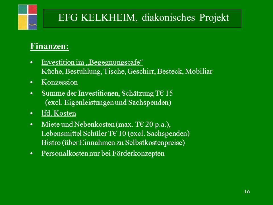 16 Finanzen: Investition im Begegnungscafe Küche, Bestuhlung, Tische, Geschirr, Besteck, Mobiliar Konzession Summe der Investitionen, Schätzung T 15 (excl.