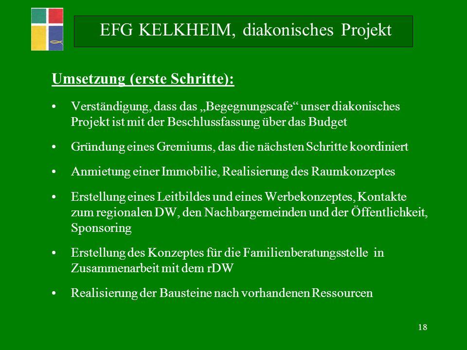 18 Umsetzung (erste Schritte): Verständigung, dass das Begegnungscafe unser diakonisches Projekt ist mit der Beschlussfassung über das Budget Gründung
