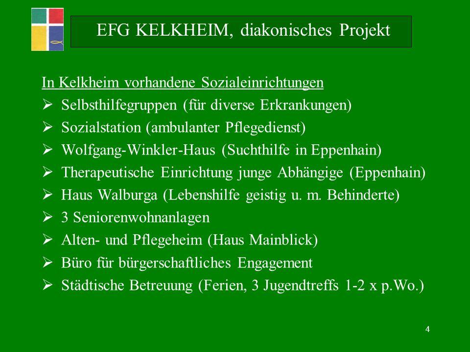 4 EFG KELKHEIM, diakonisches Projekt In Kelkheim vorhandene Sozialeinrichtungen Selbsthilfegruppen (für diverse Erkrankungen) Sozialstation (ambulanter Pflegedienst) Wolfgang-Winkler-Haus (Suchthilfe in Eppenhain) Therapeutische Einrichtung junge Abhängige (Eppenhain) Haus Walburga (Lebenshilfe geistig u.