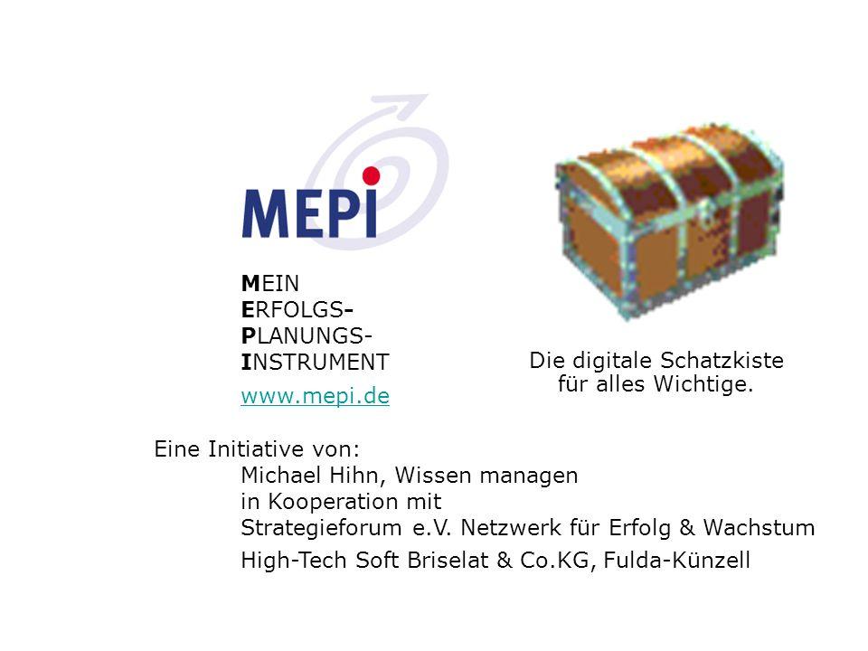 MEPI® - V0 Zettelkasten Karteikasten Vernetzung MEPI® - V1 Der Wissensspeicher zur persönlichen Informations- verwaltung Arbeitsorganisation und Strategieentwicklung Terminkalender Adresskarten MEPI® - V1 unstrukturierte Informationen strukturierte Informationen MEPI Variante