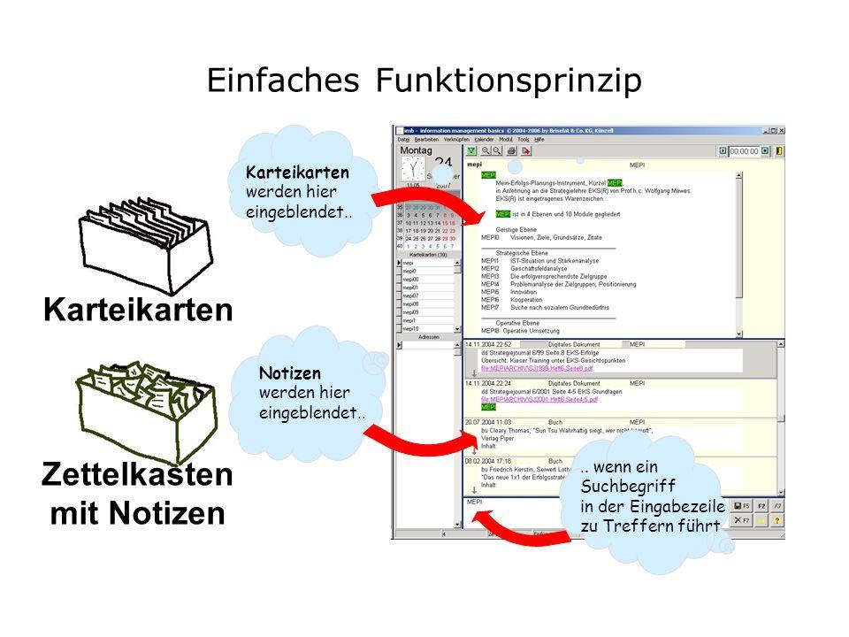 Karteikarten Zettelkasten mit Notizen Einfaches Funktionsprinzip Notizen werden hier eingeblendet..