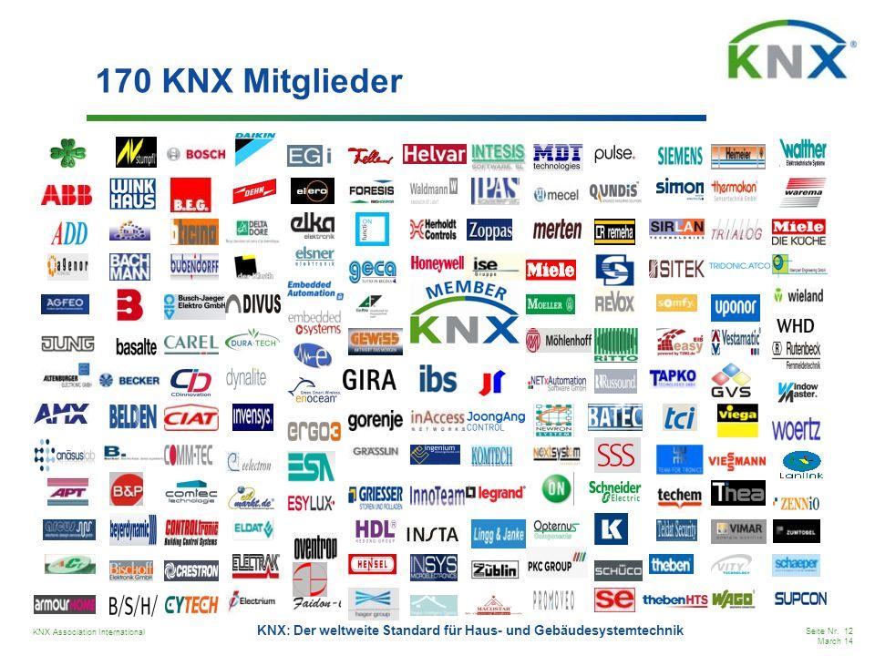 KNX Association International Seite Nr. 12 March 14 KNX: Der weltweite Standard für Haus- und Gebäudesystemtechnik 170 KNX Mitglieder
