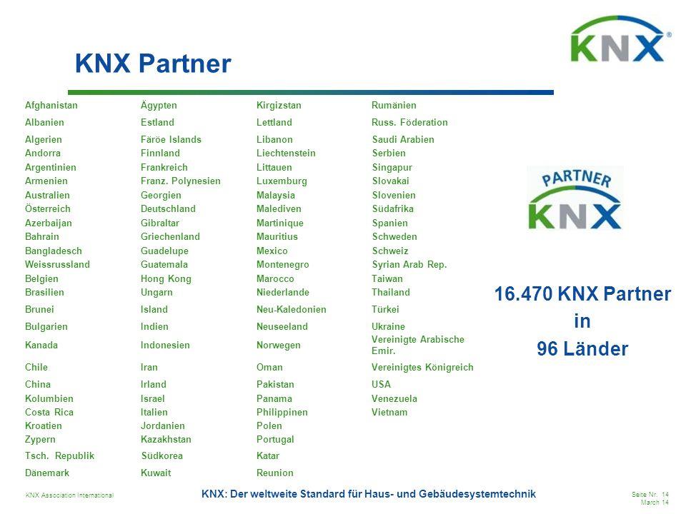 KNX Association International Seite Nr. 14 March 14 KNX: Der weltweite Standard für Haus- und Gebäudesystemtechnik KNX Partner 16.470 KNX Partner in 9