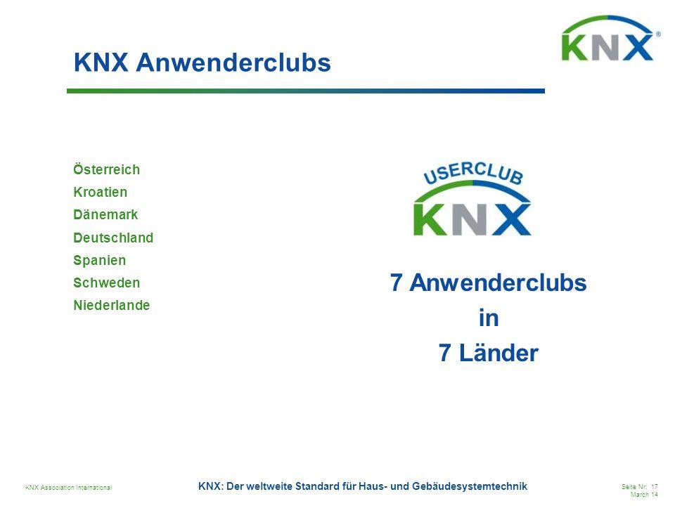 KNX Association International Seite Nr. 17 March 14 KNX: Der weltweite Standard für Haus- und Gebäudesystemtechnik KNX Anwenderclubs Österreich Kroati