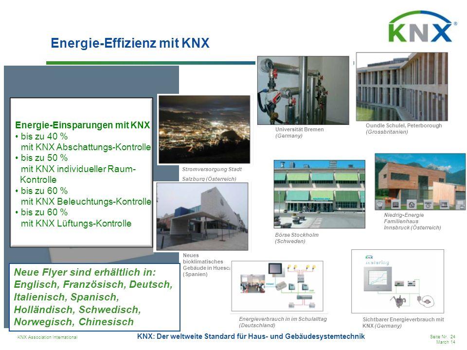 KNX Association International Seite Nr. 24 March 14 KNX: Der weltweite Standard für Haus- und Gebäudesystemtechnik Energie-Effizienz mit KNX Oundle Sc