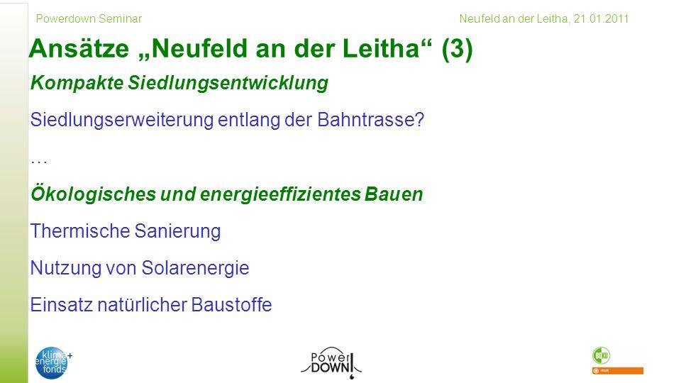 Powerdown Seminar Neufeld an der Leitha, 21.01.2011 Ansätze Neufeld an der Leitha (3) Kompakte Siedlungsentwicklung Siedlungserweiterung entlang der Bahntrasse.