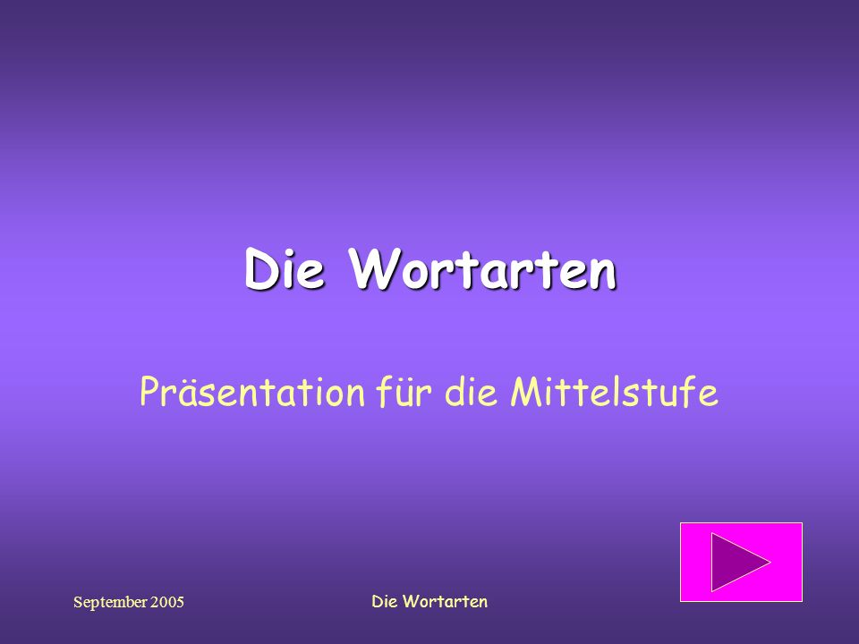 September 2005Die Wortarten Präsentation für die Mittelstufe