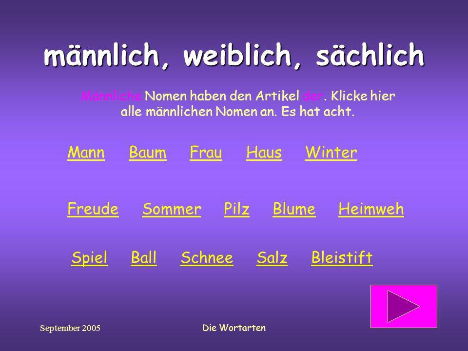 September 2005Die Wortarten männlich, weiblich, sächlich Männliche Nomen haben den Artikel der. Klicke hier alle männlichen Nomen an. Es hat acht. Spi