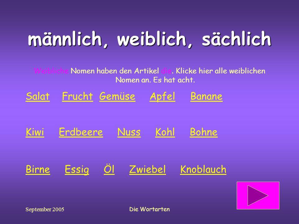 September 2005Die Wortarten männlich, weiblich, sächlich Weibliche Nomen haben den Artikel die. Klicke hier alle weiblichen Nomen an. Es hat acht. Sal