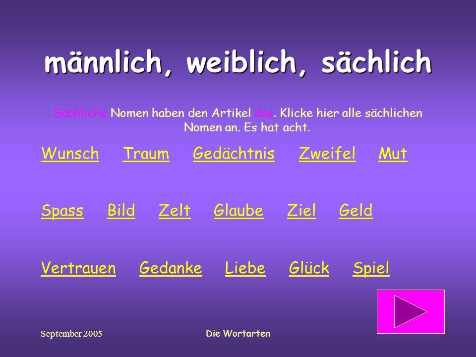 September 2005Die Wortarten männlich, weiblich, sächlich Sächliche Nomen haben den Artikel das. Klicke hier alle sächlichen Nomen an. Es hat acht. Wun
