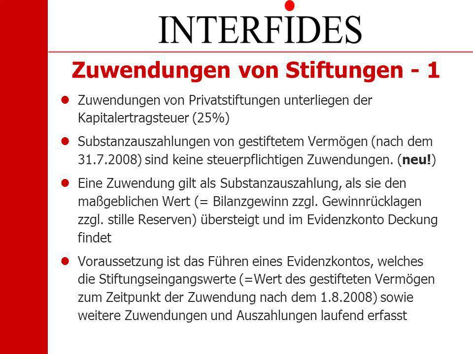 Zuwendungen von Stiftungen - 1 Zuwendungen von Privatstiftungen unterliegen der Kapitalertragsteuer (25%) Substanzauszahlungen von gestiftetem Vermöge