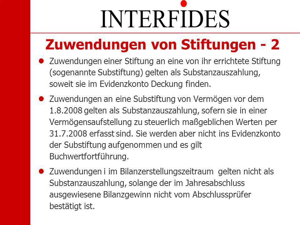 Zuwendungen von Stiftungen - 2 Zuwendungen einer Stiftung an eine von ihr errichtete Stiftung (sogenannte Substiftung) gelten als Substanzauszahlung,