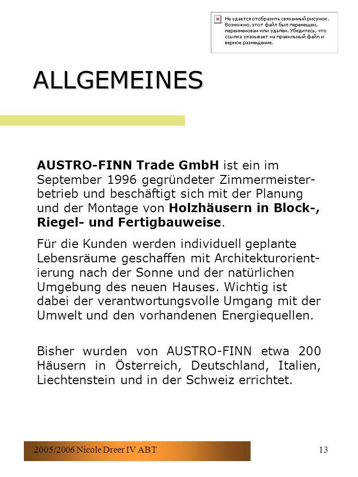 2005/2006 Nicole Dreer IV ABT13 ALLGEMEINES AUSTRO-FINN Trade GmbH ist ein im September 1996 gegründeter Zimmermeister- betrieb und beschäftigt sich mit der Planung und der Montage von Holzhäusern in Block-, Riegel- und Fertigbauweise.