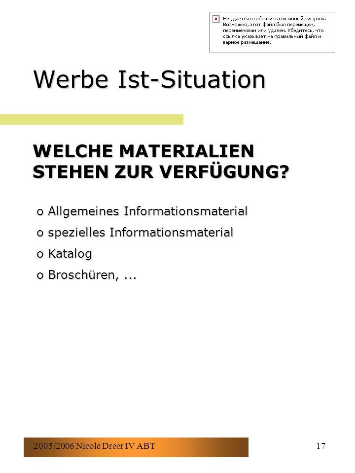 2005/2006 Nicole Dreer IV ABT17 Werbe Ist-Situation WELCHE MATERIALIEN STEHEN ZUR VERFÜGUNG? o Allgemeines Informationsmaterial o spezielles Informati