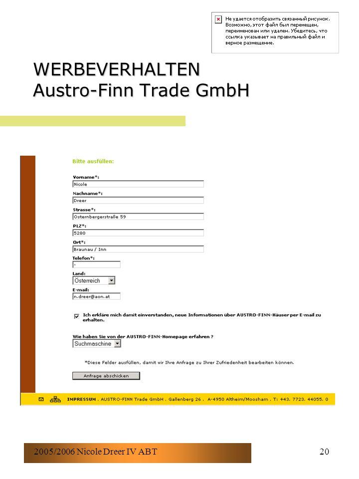 2005/2006 Nicole Dreer IV ABT20 WERBEVERHALTEN Austro-Finn Trade GmbH