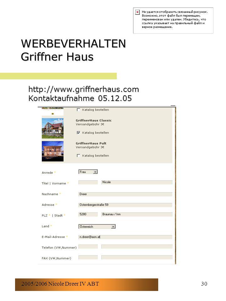 2005/2006 Nicole Dreer IV ABT30 WERBEVERHALTEN Griffner Haus http://www.griffnerhaus.com Kontaktaufnahme 05.12.05
