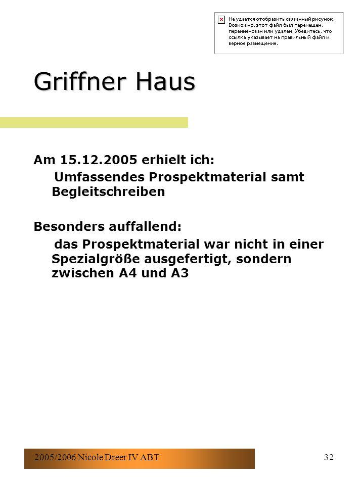 2005/2006 Nicole Dreer IV ABT32 Griffner Haus Am 15.12.2005 erhielt ich: Umfassendes Prospektmaterial samt Begleitschreiben Besonders auffallend: das Prospektmaterial war nicht in einer Spezialgröße ausgefertigt, sondern zwischen A4 und A3